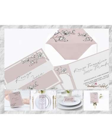 """Set Partecipazione """"Magnolia rosa pastello""""  in set con libro messa, menù, segnaposto e ventaglio coordinati"""