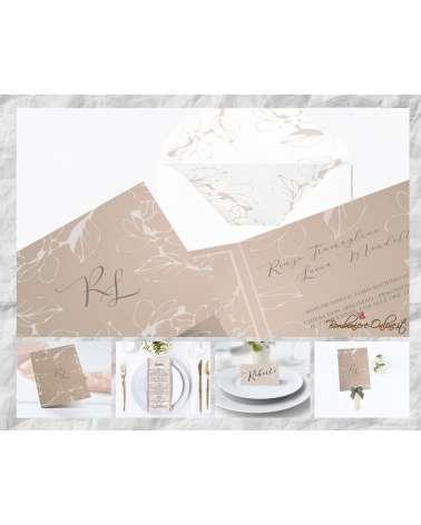 """Set Partecipazione """"Foglie fondo sabbia""""  in set con libro messa, menù, segnaposto e ventaglio coordinati"""