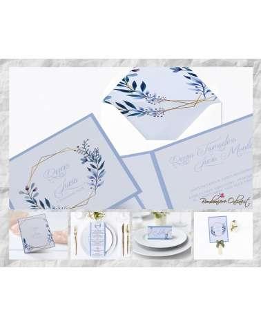 """Partecipazione """"Blu style"""" in set con libro messa, menù, segnaposto e ventaglio coordinati"""