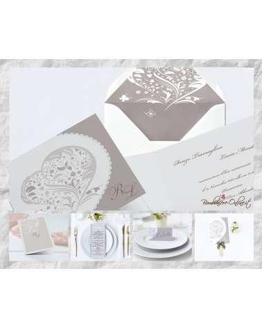"""Set Partecipazione """"Cuore stilizzato"""" in set con libro messa, menù, segnaposto e ventaglio coordinati"""