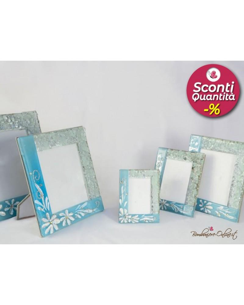 Bomboniera Portafoto in vetro azzurro fiori 9 x 12