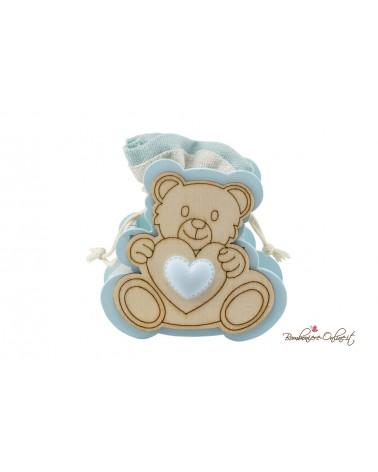 Sacchetto con orsetto in legno boy o girl