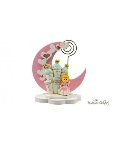 Luna in legno e clips con Principessa con castello