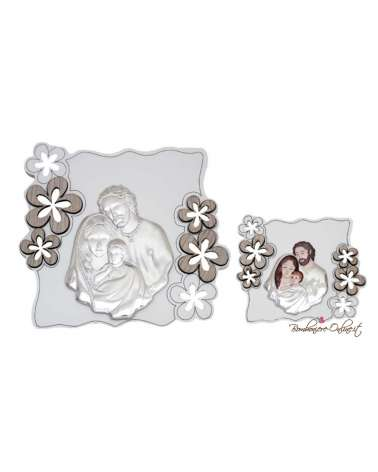 Bomboniera quadro grande Sacra Famiglia motivo fiori