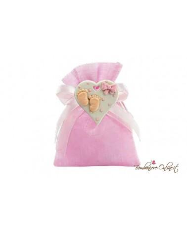 Sacchetto rosa magnete cuore dolci piedini