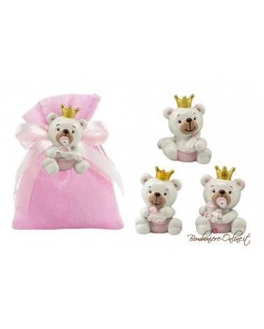 Sacchetto rosa magnete orsetto con corona
