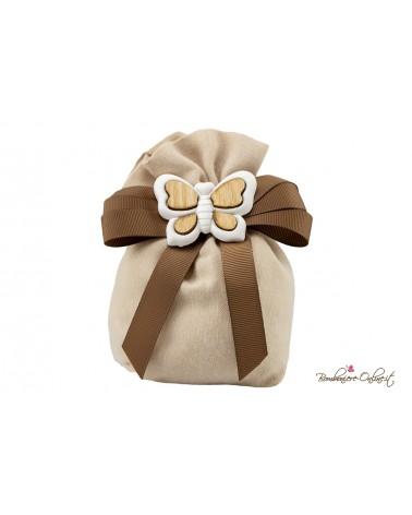 Sacchetto portaconfetti con farfalla in gesso e legno
