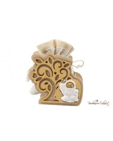 Sacchetto portaconfetti con albero in legno e simbolo Comunione