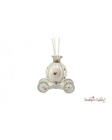 Bomboniera Profumatore carrozza piccola con luce led in ceramica con strass