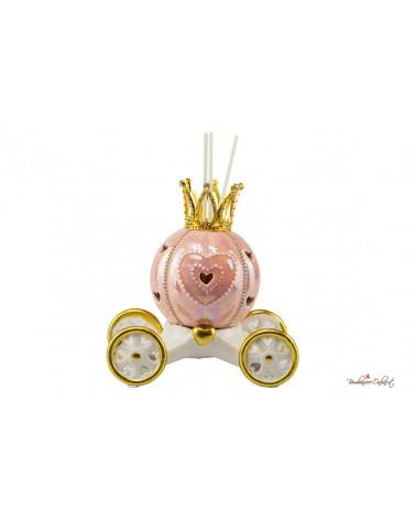 Bomboniera Profumatore carrozza piccola rosa con luce led in ceramica con strass