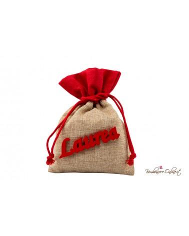 Sacchetto rosso e crema con scritta Laurea