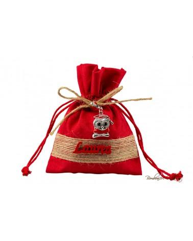 Sacchetto rosso con charm Gufetto Laurea