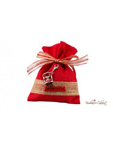 Sacchetto rosso Laurea con charm Clessidra