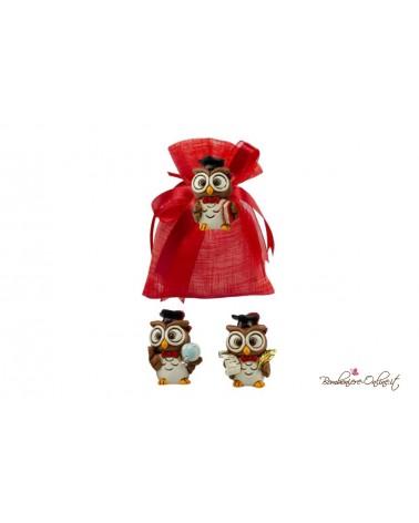 Sacchetto rosso Laurea con magnete Gufetto 3 soggetti assortiti