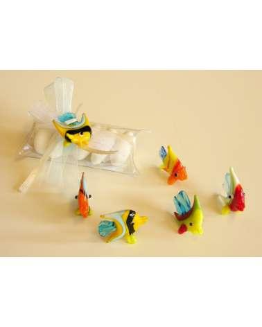 Tubo 5 confetti con pesciolini in vetrofusione