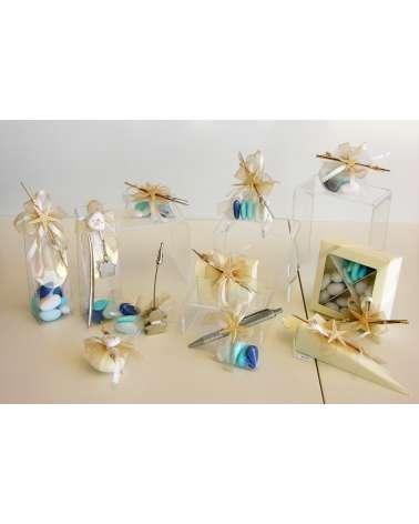 Barattolo in vetro con sacchetto confetti ed elementi marini naturali linea