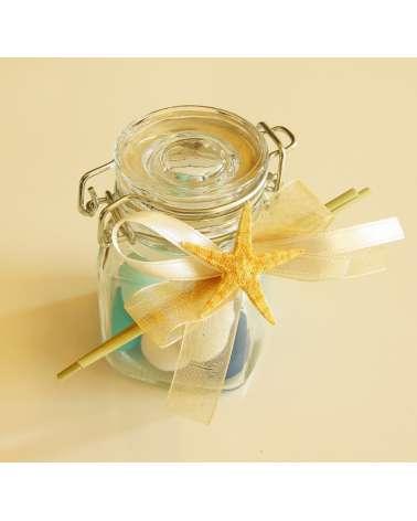 Barattolo in vetro con sacchetto 5 confetti ed elementi marini naturali