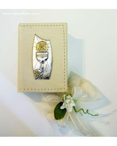 Bomboniera Comunione Vangelo con copertina in pelle e placchetta argento