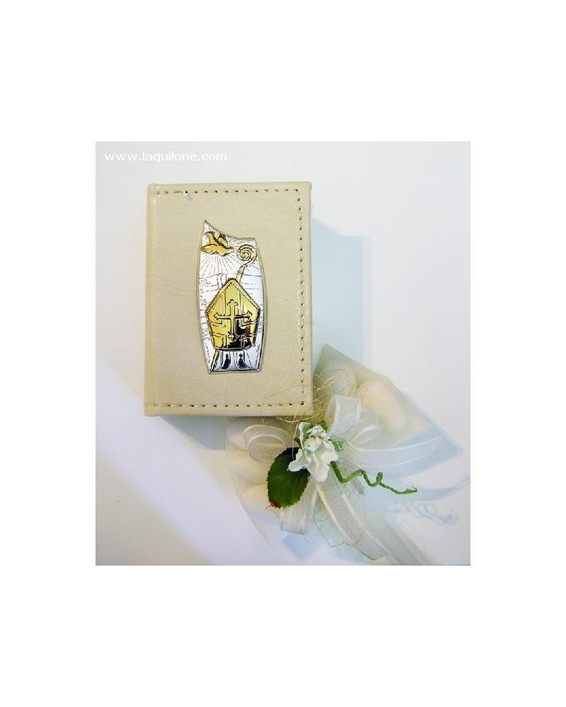 Bomboniera Cresima Vangelo con copertina in pelle e placchetta argento, Mitra Cresima