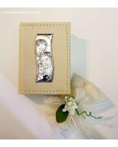 Bomboniera Vangelo Sacra Famiglia in pelle con placchetta argento