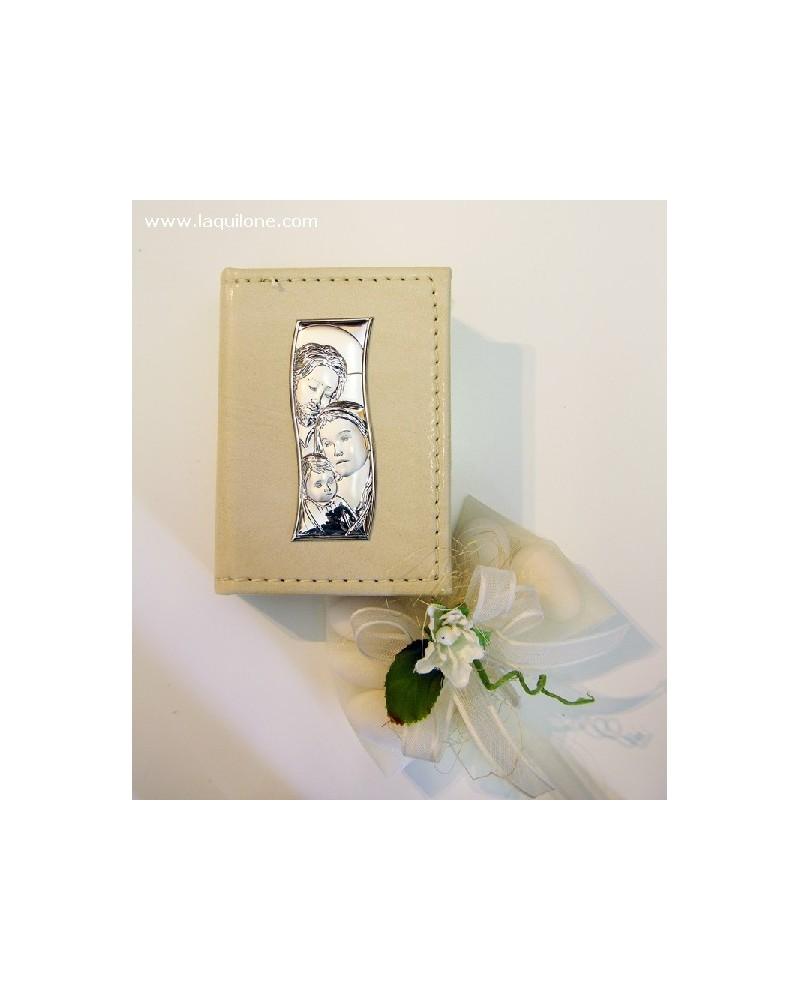 Vangelo con copertina in pelle e placchetta argento Sacra Famiglia