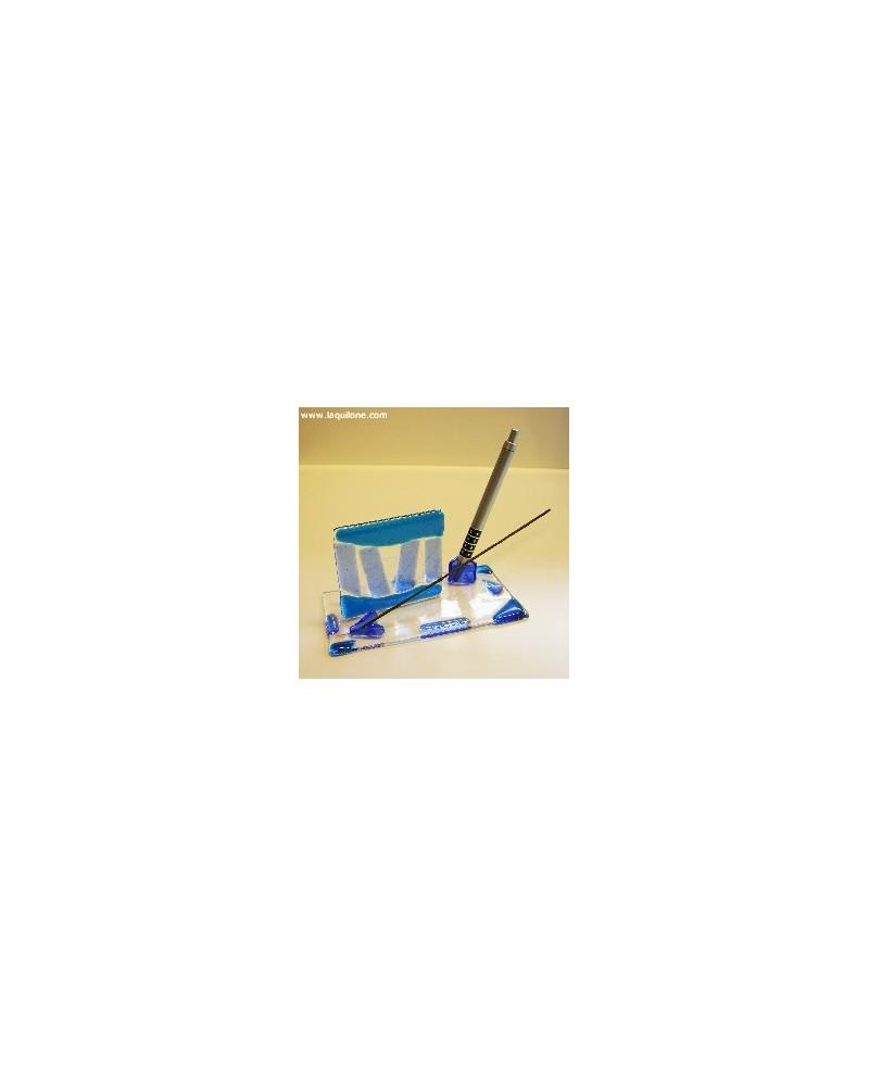 Bomboniera set scrivania in vetrofusione blu con penna