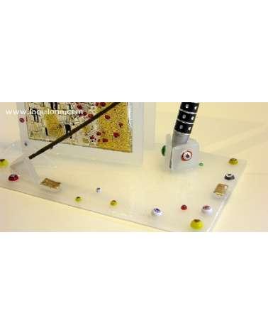 """Bomboniera Set scrivania in vetrusione con placca argento """"Omaggio a Klimt - Il bacio"""" dettaglio"""