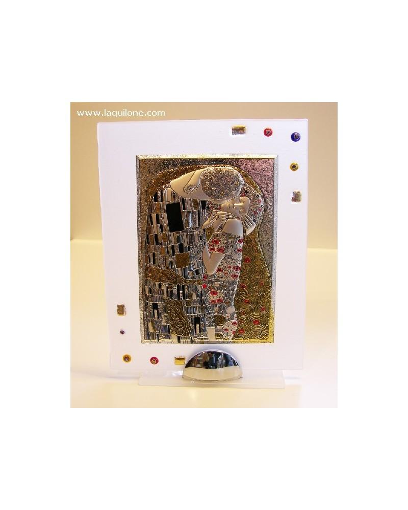 """Bomboniera quadretto medio """"Omaggio a Klimt - Il bacio"""" in argento bilaminato"""