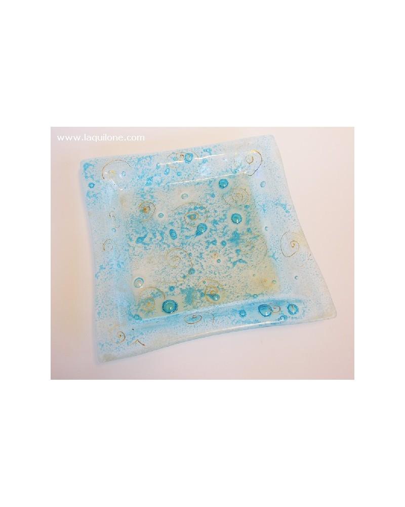 Bomboniera piatto in vetrofusione blu con inclusione di bollicine