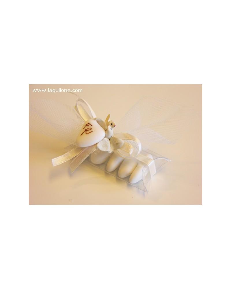 Segnaposto tubo confetti con colombine in terracotta fatte a mano