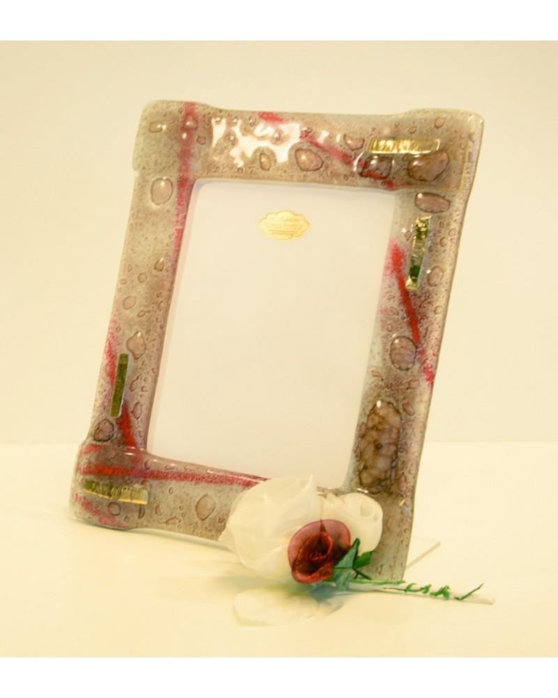 Bomboniera portafoto in vetrofusione con inserti oro zecchino singolo