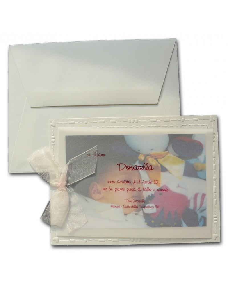 Portafoto nascita su carta traslucida