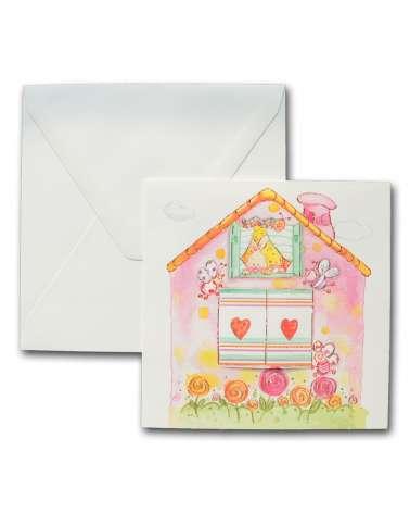 """Biglietto nascita, Invito battesimo bomba """"Casetta rosa con finestra"""""""