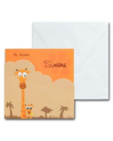 """Biglietto nascita, invito battesimo arancione """"Giraffe savana"""""""