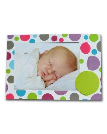Inviti battesimo, Biglietto nascita portafoto con cornice di pois colorati