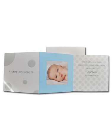 Invito battesimo o biglietto nascita bimbo con portafoto pois grigi