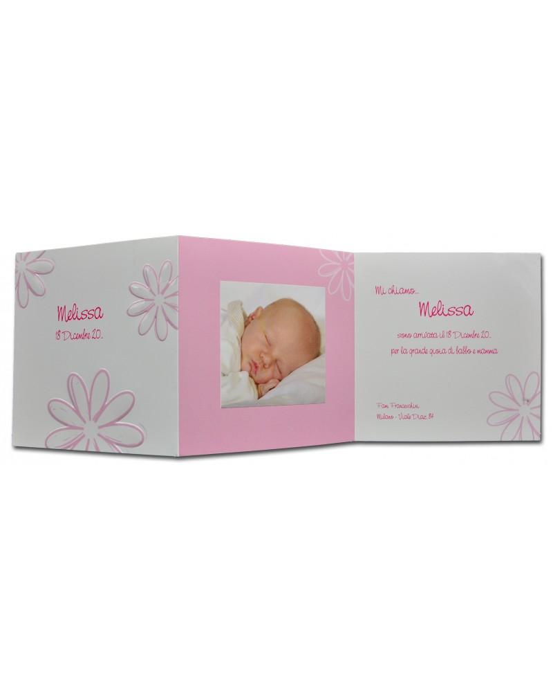 Invito battesimo o biglietto nascita bimba con portafoto fiori rosa