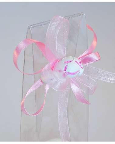 Segnaposto battesimo box alto trasparente con gessetto profumato dettaglio