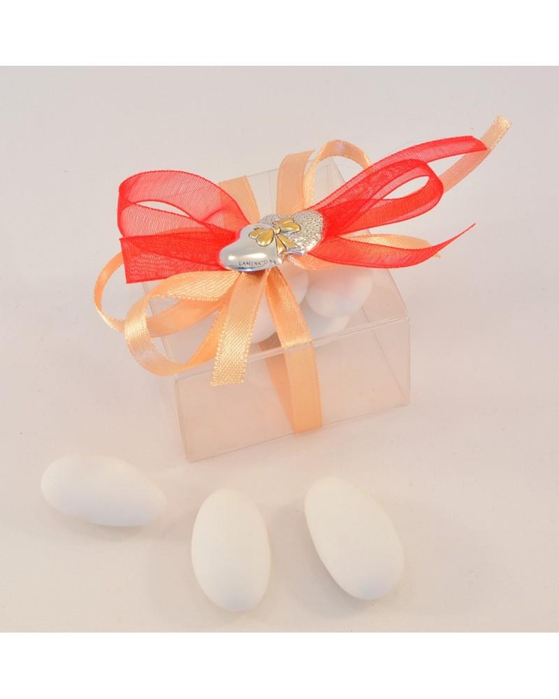 Segnaposto matrimonio box trasparente con placchetta cuori in argento