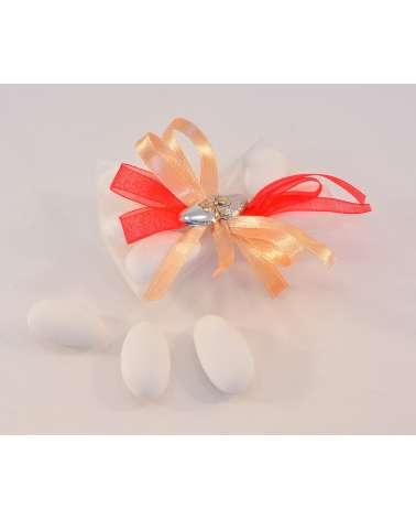 Papillon segnaposto in tulle con placchetta cuori in argento