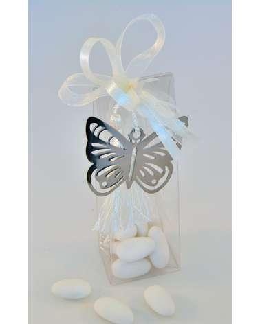 Scatolina confetti alta trasparente segnalibro farfalla in acciaio
