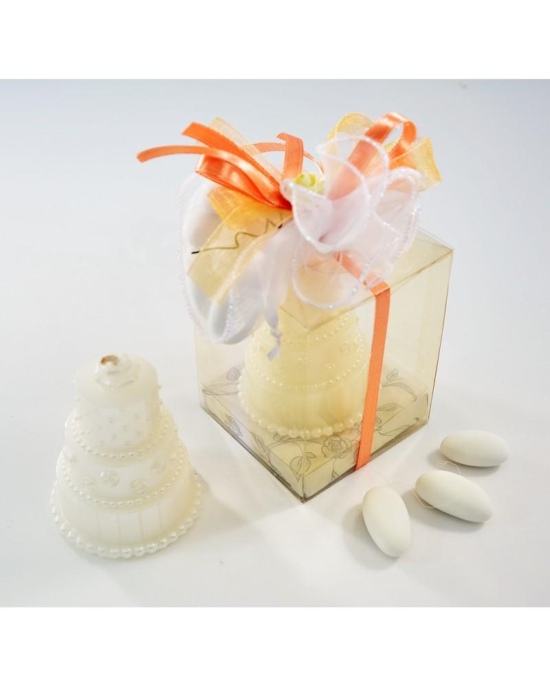 Segnaposto candela wedding cake con confetti in confezione acetato