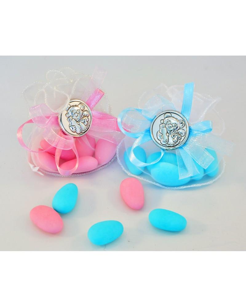 Sacchetto confetti in organza con placchetta orsetto in argento