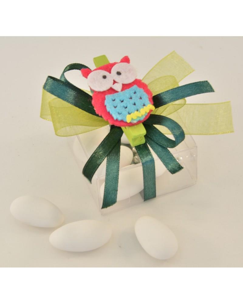 Box confetti trasparente con gufetti colorati