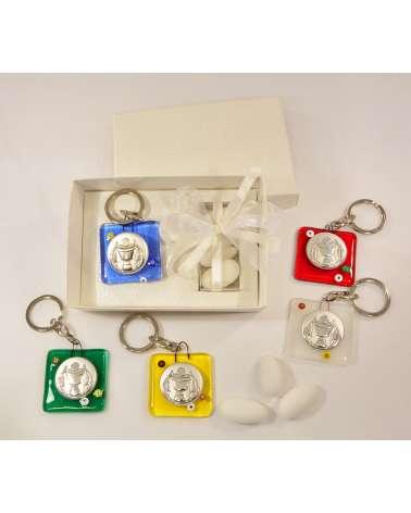Portachiavi Prima Comunione in vetrofusione con placchetta argento Prima Comunione