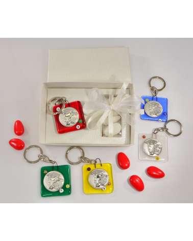Bomboniera portachiavi in vetrofusione e murrine Laurea con placchetta argento