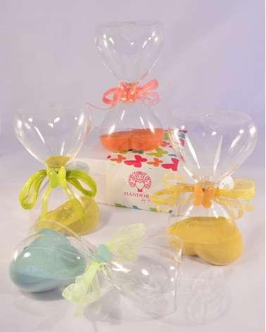 Bomboniera clessidra in vetro con farfalla in ceramica