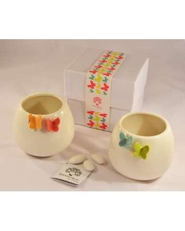 Bomboniera matrimonio vasetto in ceramica con farfalla
