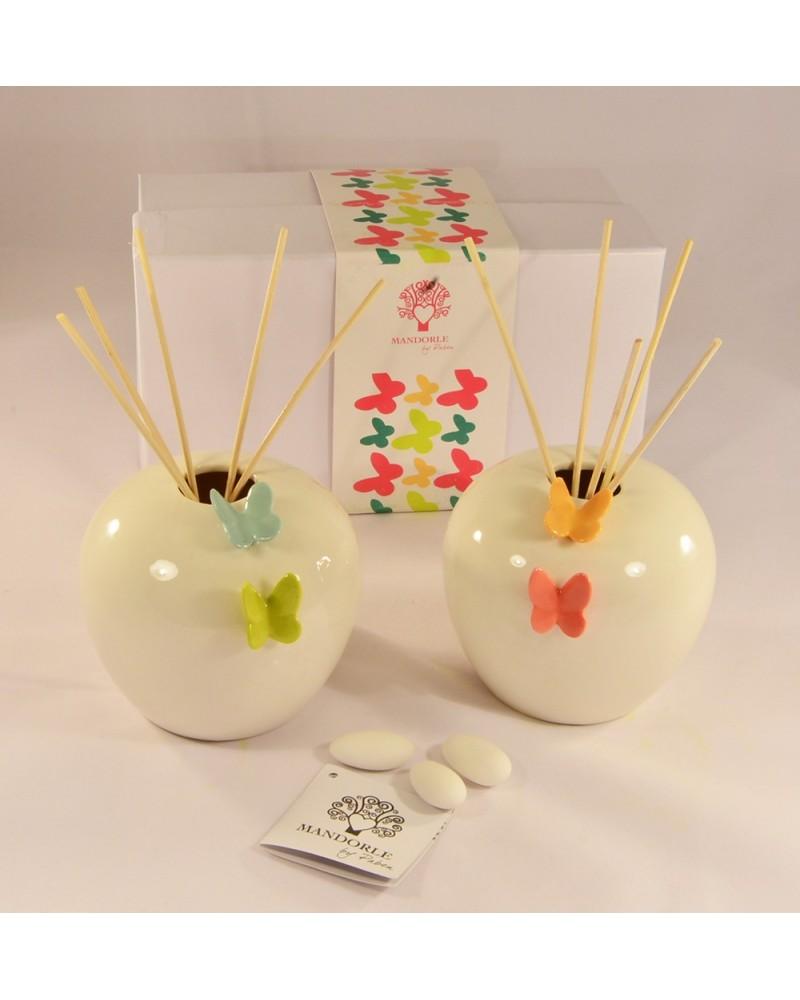 Bomboniera matrimonio diffusore profumo in ceramica con farfalla