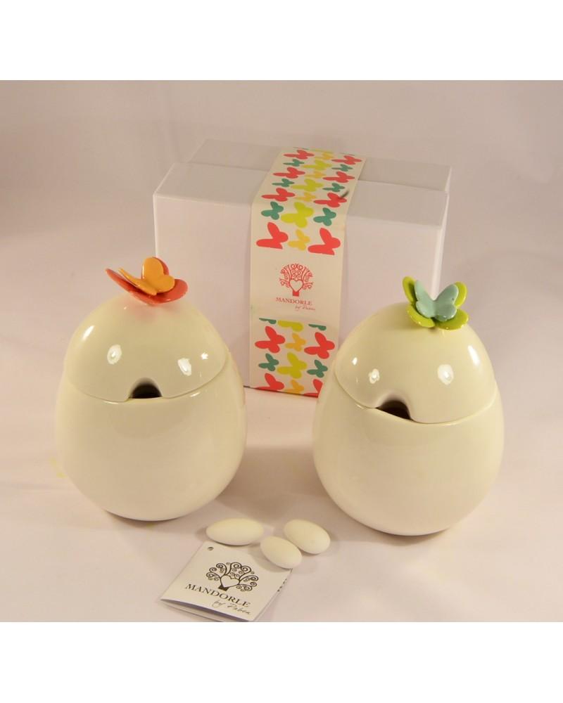 Bomboniera matrimonio zuccheriera in ceramica con farfalle colorate